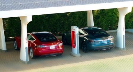 Sistema Tesla de supercarga de baterías.