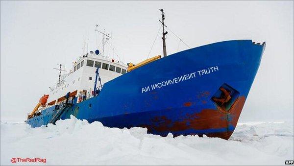 Rescate en el hielo. El curioso turismo / campañas de prensa del calentamiento global.